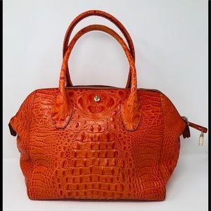 Furla Croc Embossed Leather Handbag